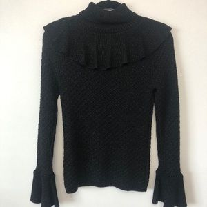 Co Collection Bell Sleeve Turtleneck Sweater Black